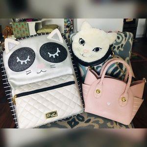 Betsy Johnson Luv Betsey kitty cat bag bundle